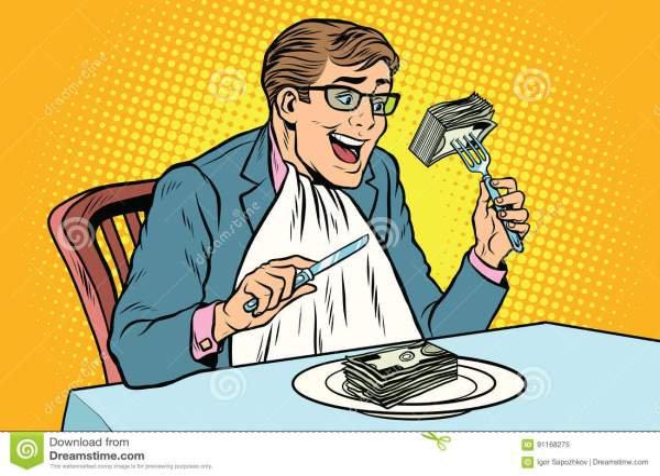 Businessman Eating Money Stock Vector. Illustration Of