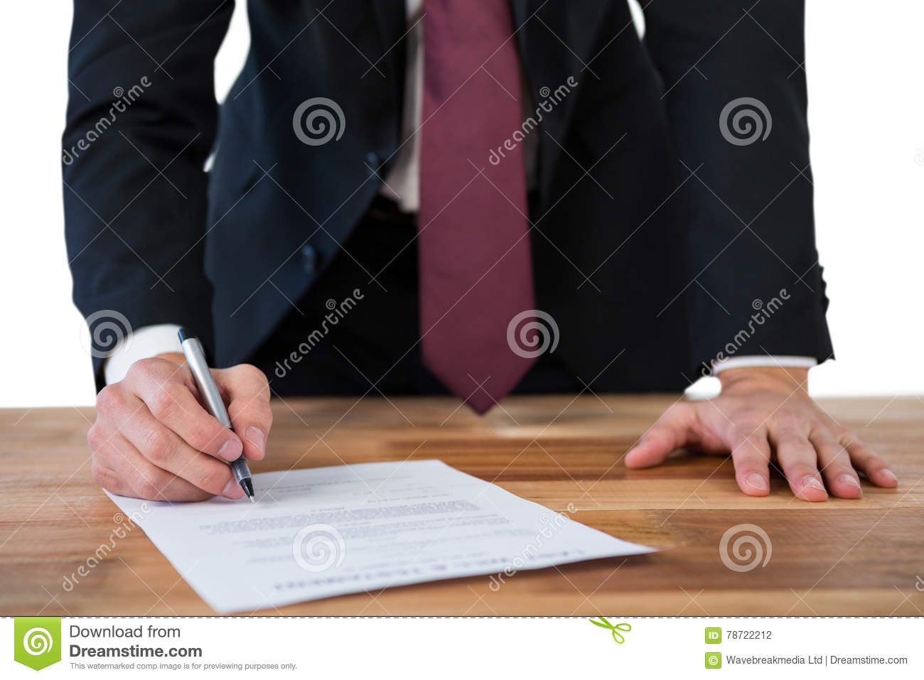 Businessman Filling Last Will And Testament Form Against White ...