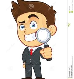clipart picture of a male businessman cartoon character holding a magnifying glass [ 1065 x 1300 Pixel ]