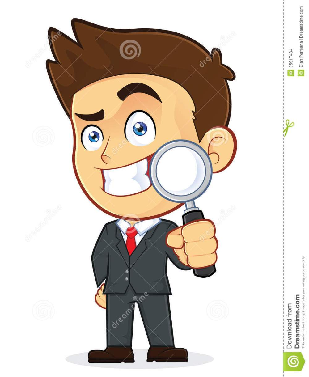 medium resolution of clipart picture of a male businessman cartoon character holding a magnifying glass