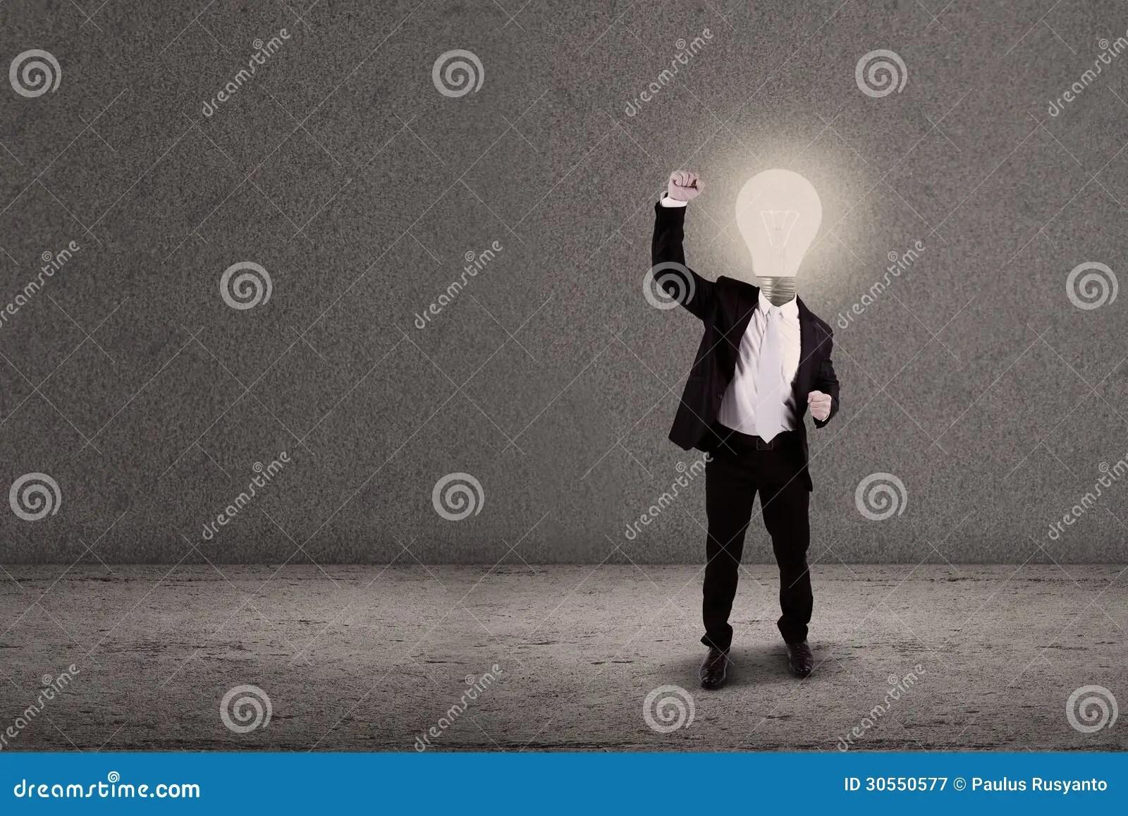 Businessman With Lightbulb Head Raised Arm Royalty Free