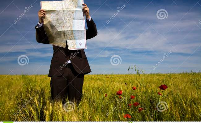 Businessman Lost In Field Stock Image Image Of