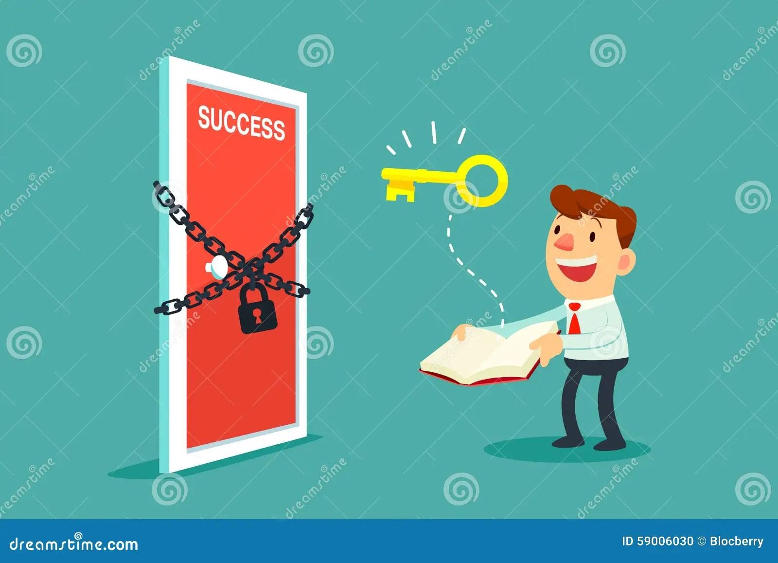 Businessman Open A Book To Unlock Door To Success Stock Vector - Illustration of cartoon. employee: 59006030