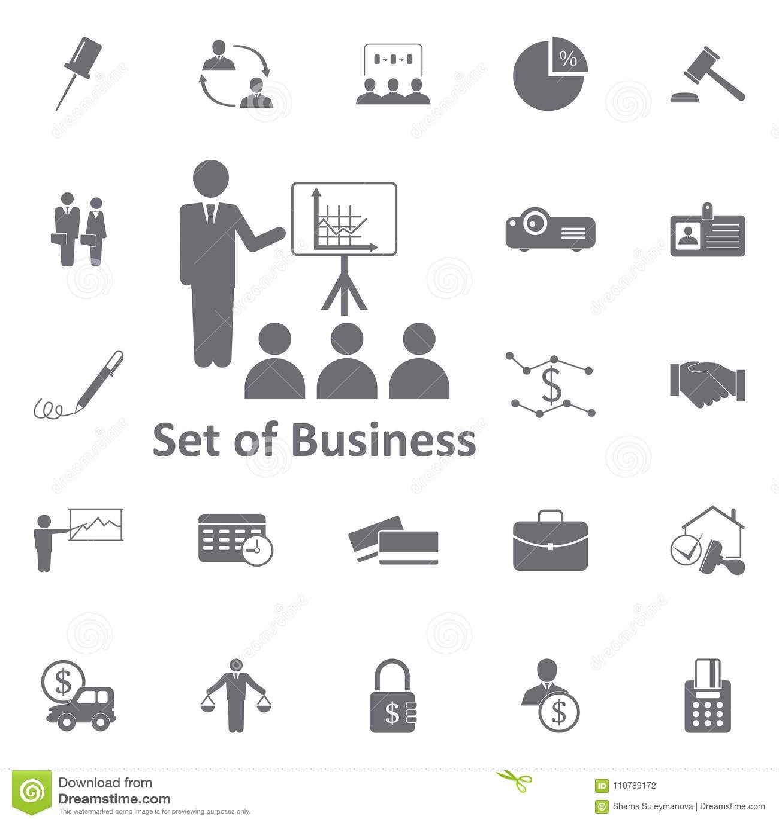 Businessman Presentation Diagram Icon Simple Element
