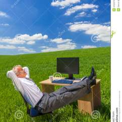 Office Chair Vector Fancy Covers For Weddings Businessman Relaxing Feet Up Desk In Green Field Stock Photo - Image: 34523700