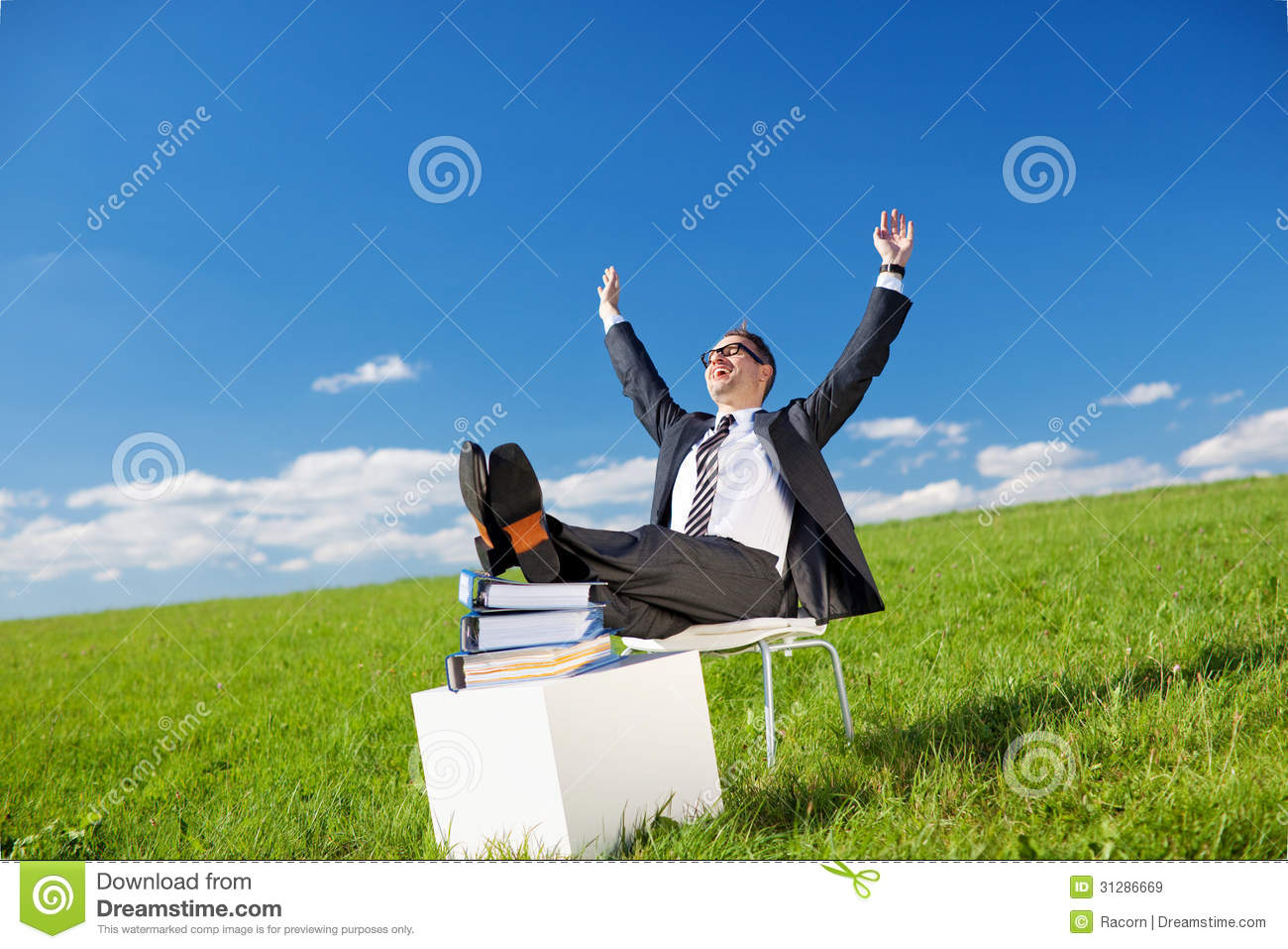 Businessman Relaxing In The Fresh Air Royalty Free Stock