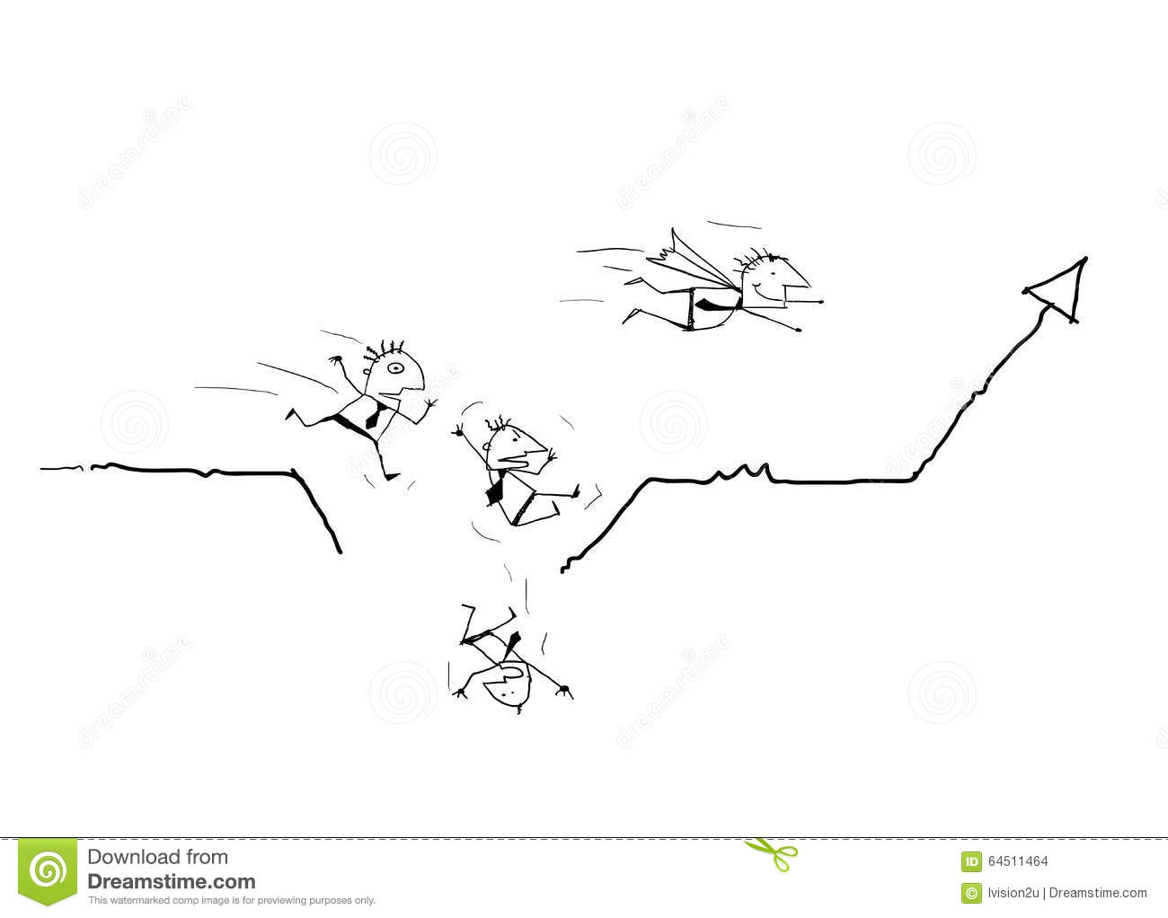 Businessman Running On Business Line Graph And Falling