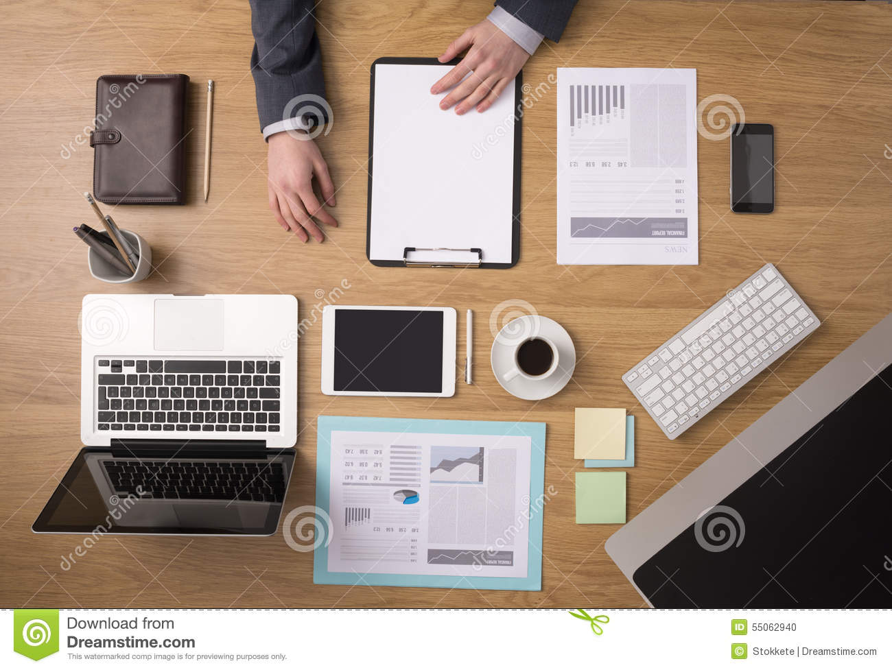 Businessmans Desk Top View Stock Photo  Image 55062940