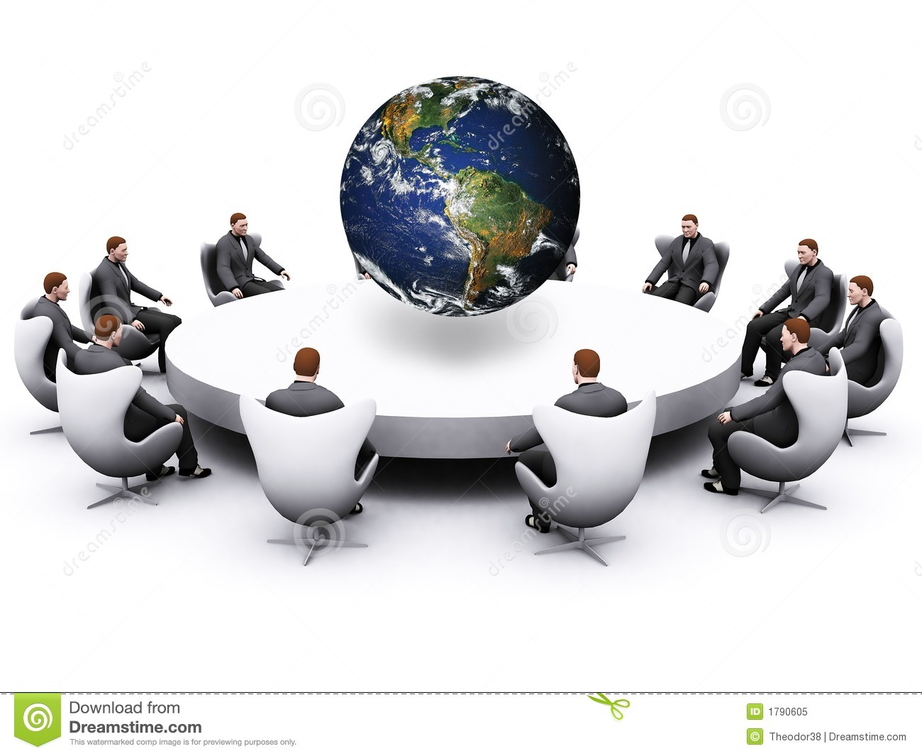 sell office chairs power lift recliner businessman sitting around table stock illustration - image: 1790605