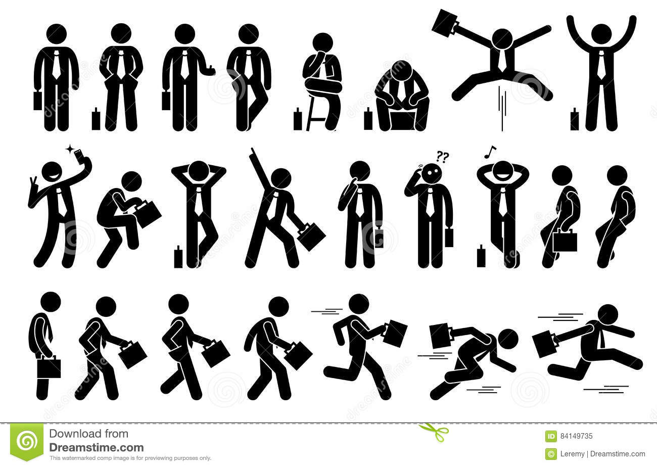 Businessman With Various Poses And Actions Stock Vector