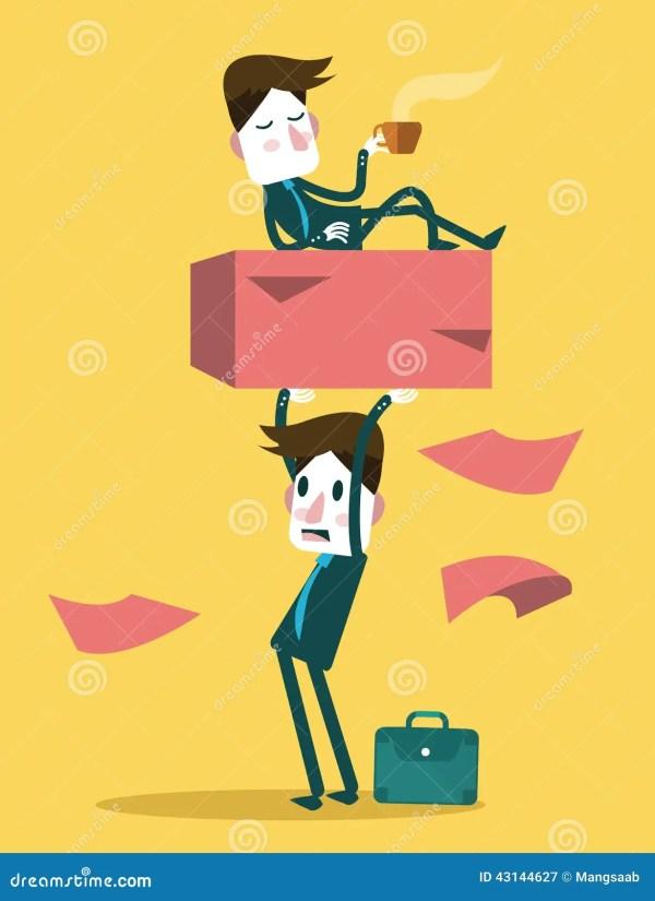 Businessman Work Hard Alone Exploit Partner Concept