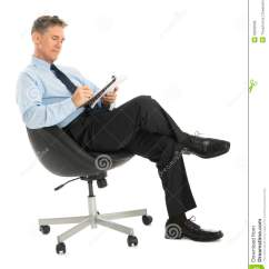 Office Sitting Chairs Wicker Outdoor Businessman Writing In Note Pad While On