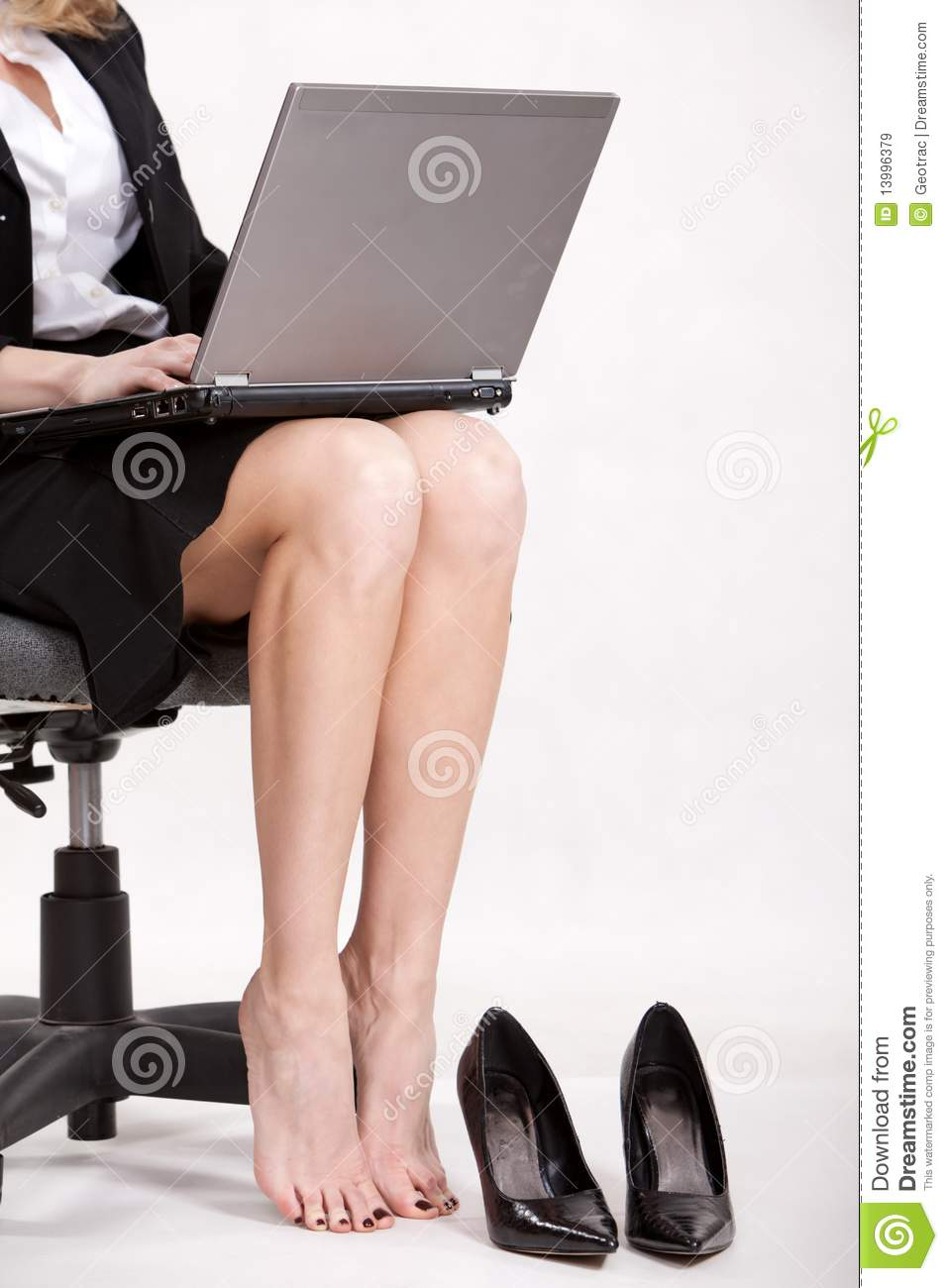 Businesswoman Legs With Laptop Stock Image  Image of