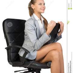 Office Sitting Chairs French Country Dining Table And Businesswoman On Chair With Stock Photo