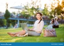 Girl Sitting On Laptop