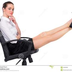 Swivel Chair Feet Cool Chairs For Bedrooms Businesswoman Sitting On With Up Stock Photo