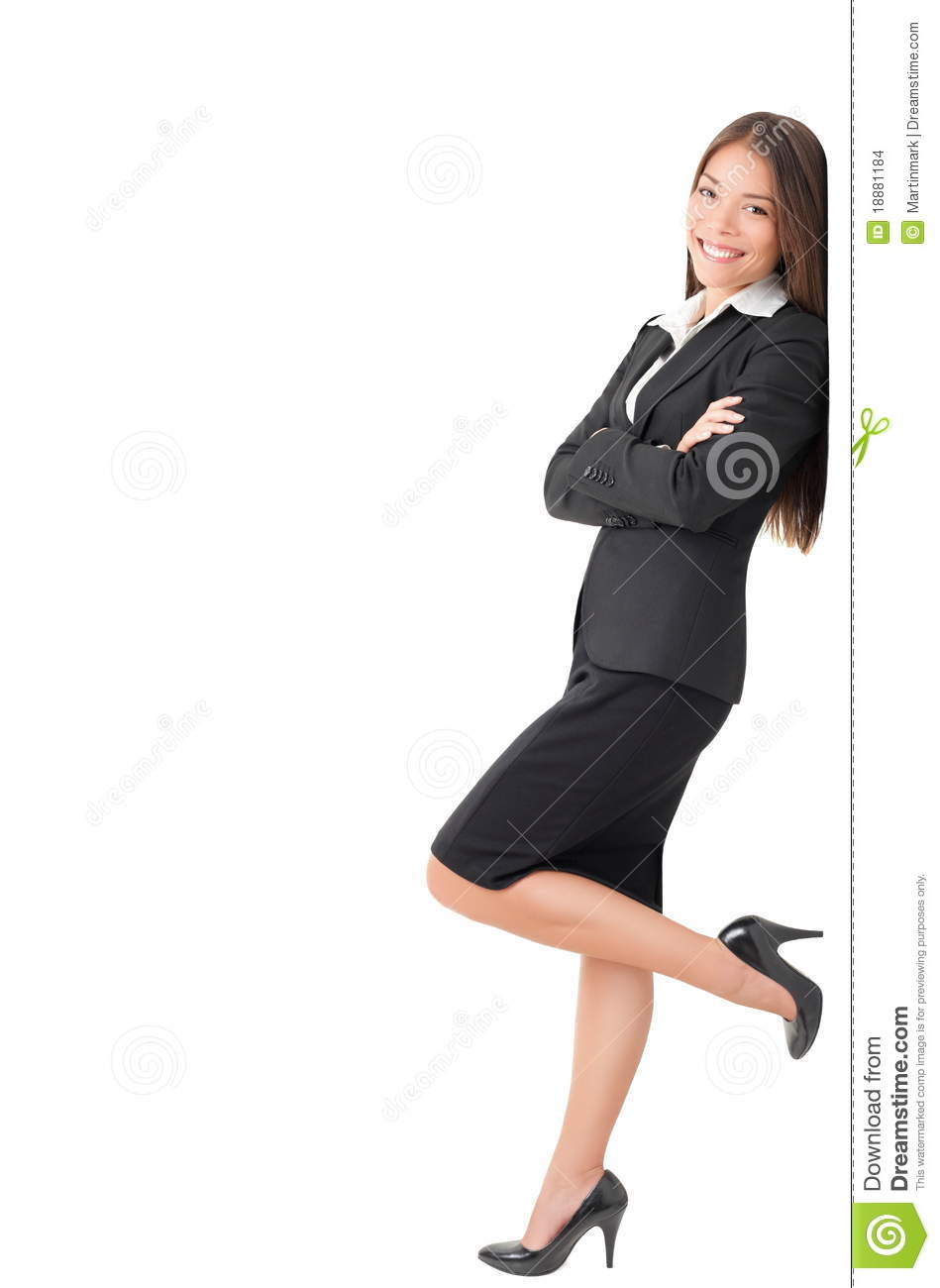 Girl Back Side Wallpaper Businesswoman Standing Leaning On Sign Stock Photo Image