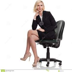Woman Sitting In Chair Ceiling Hanging Businesswoman Wearing Black Suit Smiling Stock Photo
