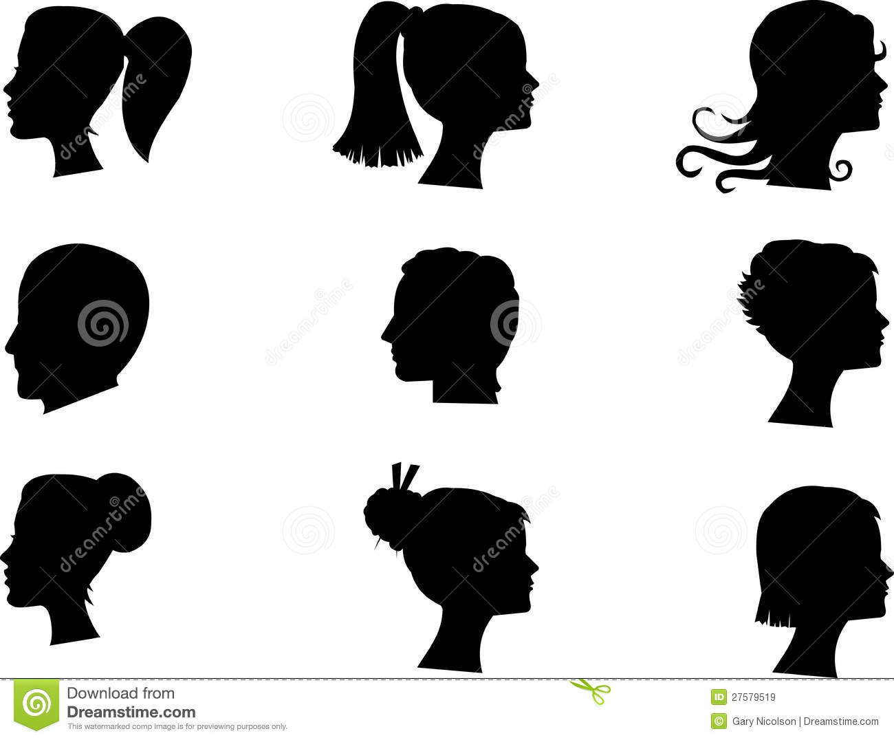 Busts in silhouette stock vector Illustration of fashionable  27579519