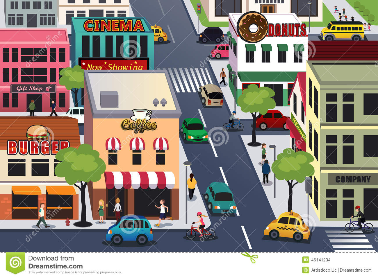 Busy City In The Morning Stock Vector