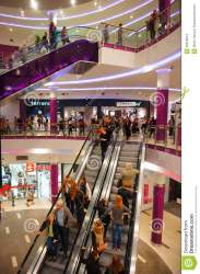 mall busy shopping many poznan poland center escalator using shops indoors preview