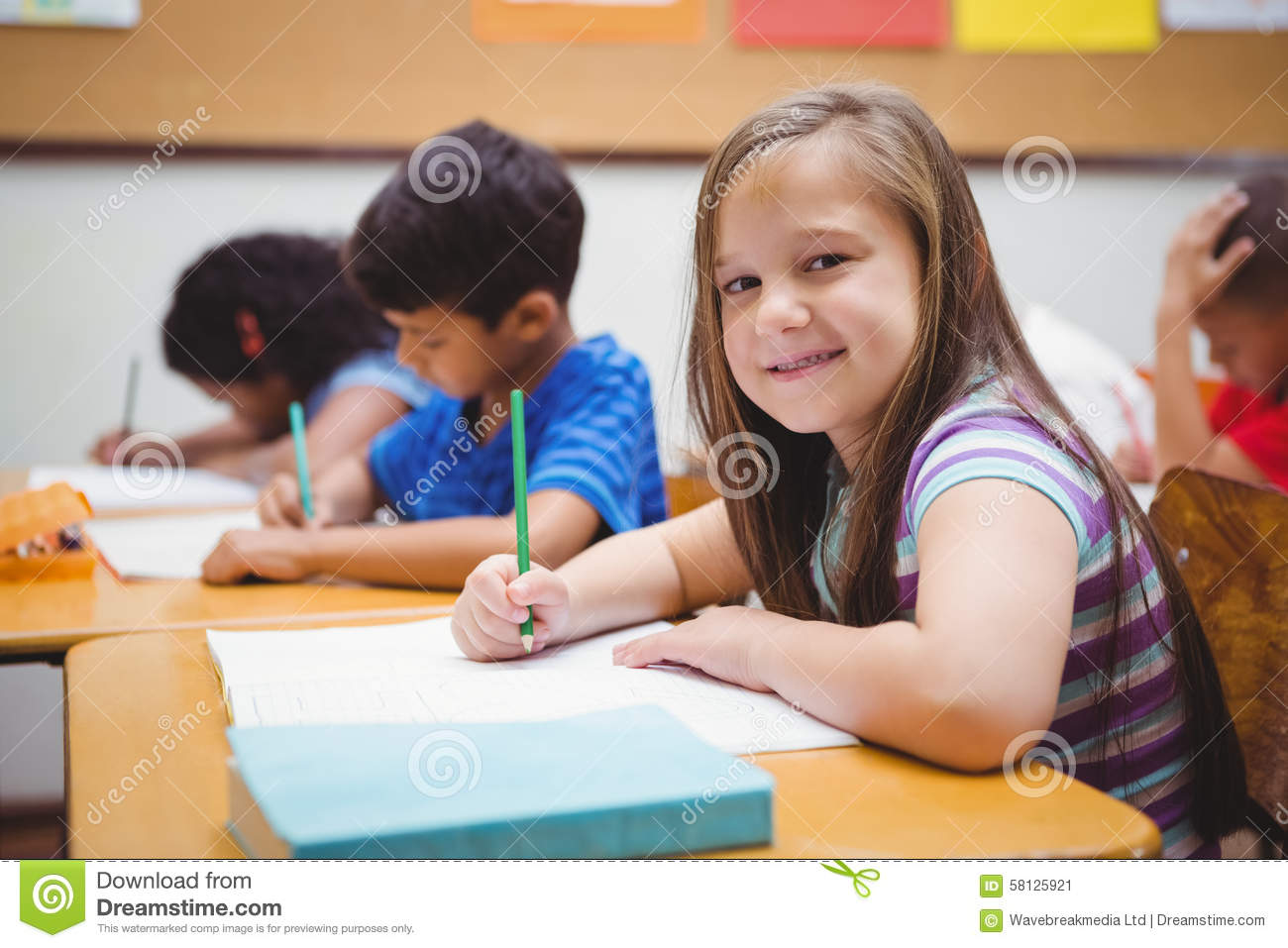 Busy Students Working On Class Work Stock Image