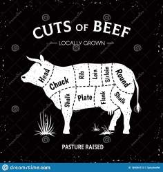 cow butcher beef het mucca menu vector della manzo macellaio silhouette restaurant cut diagram template poster embleem rundvlees uitstekende affiche