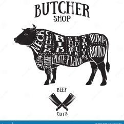 Beef Cow Cut Diagram Pioneer Mixtrax Wiring Butcher Cuts Scheme Of Stock Vector Illustration