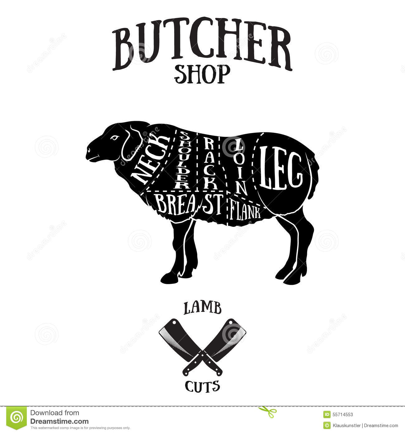 Butcher Cuts Scheme Of Lamb Or Mutton Cartoon Vector