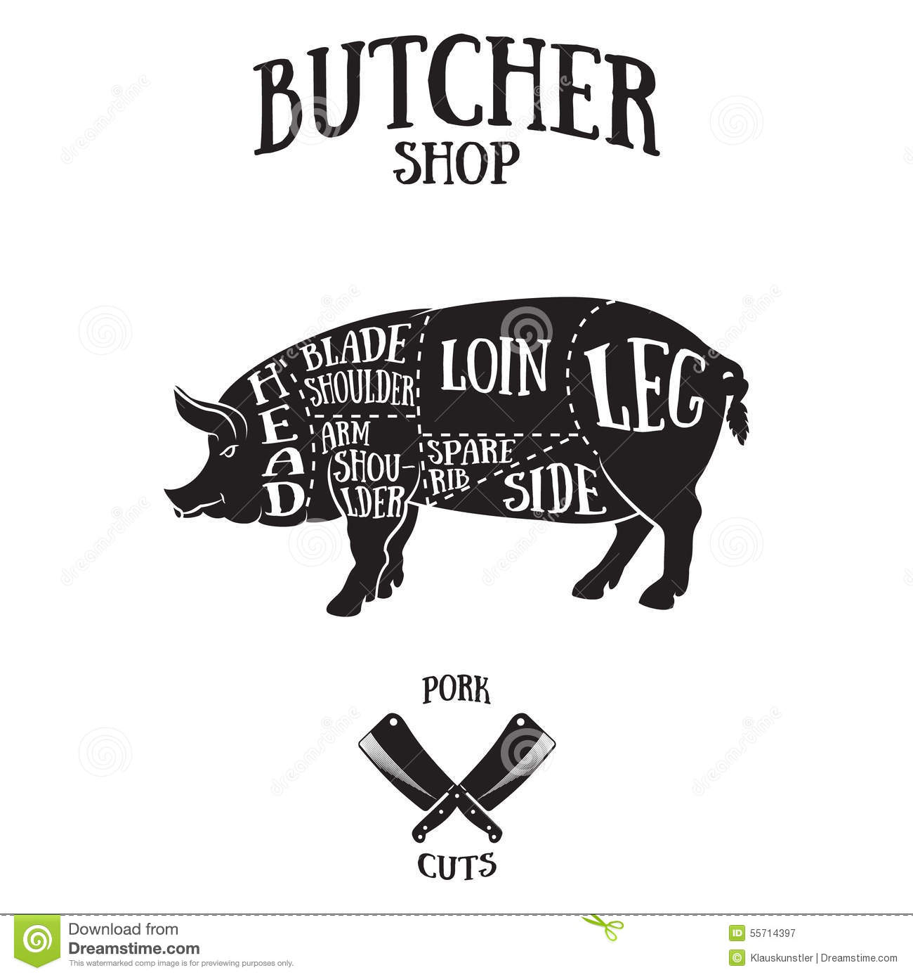 pork butcher cuts diagram 2003 ford expedition wiring for radio scheme of stock vector illustration