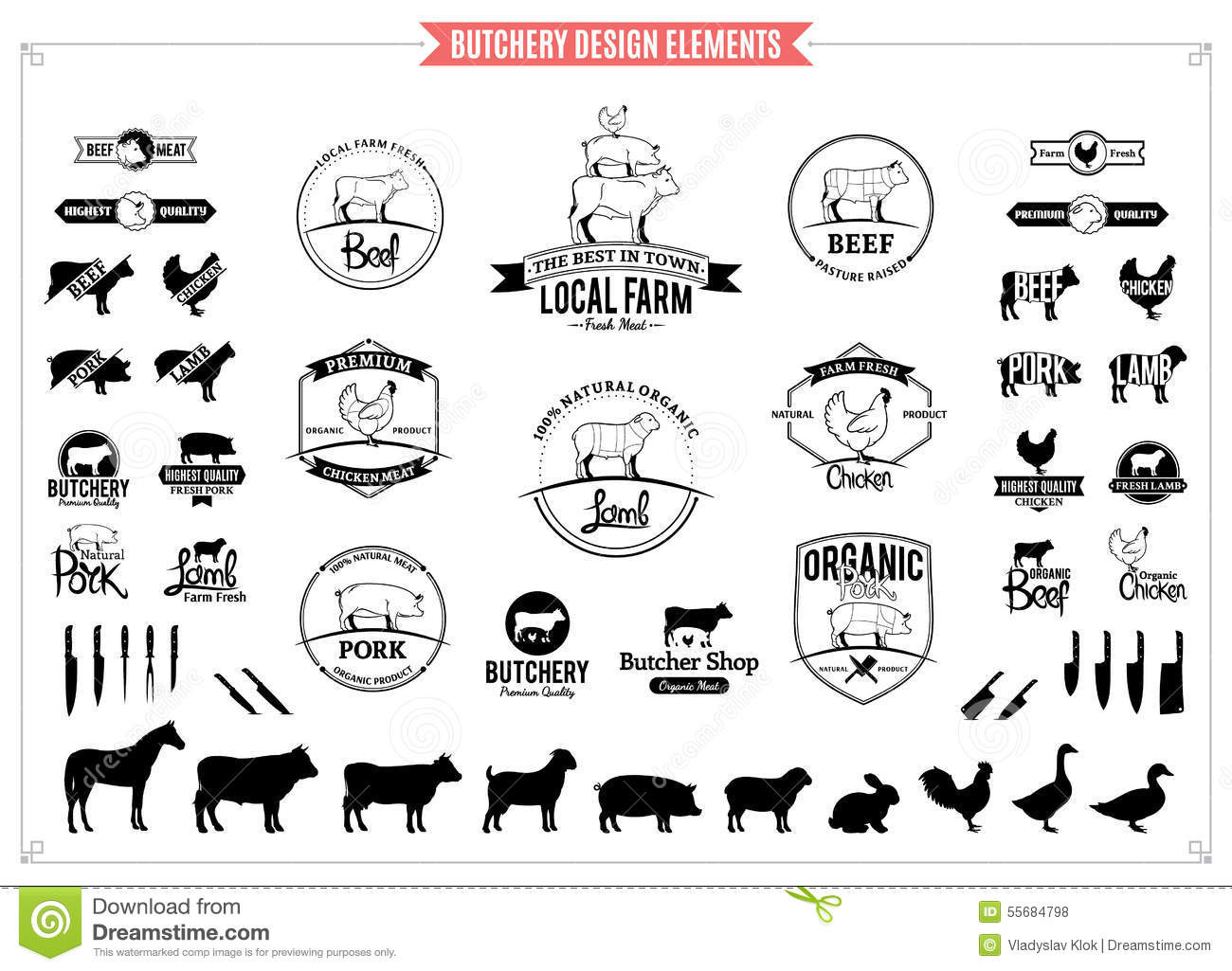 Butchery Logos Labels Charts And Design Elements Stock Vector