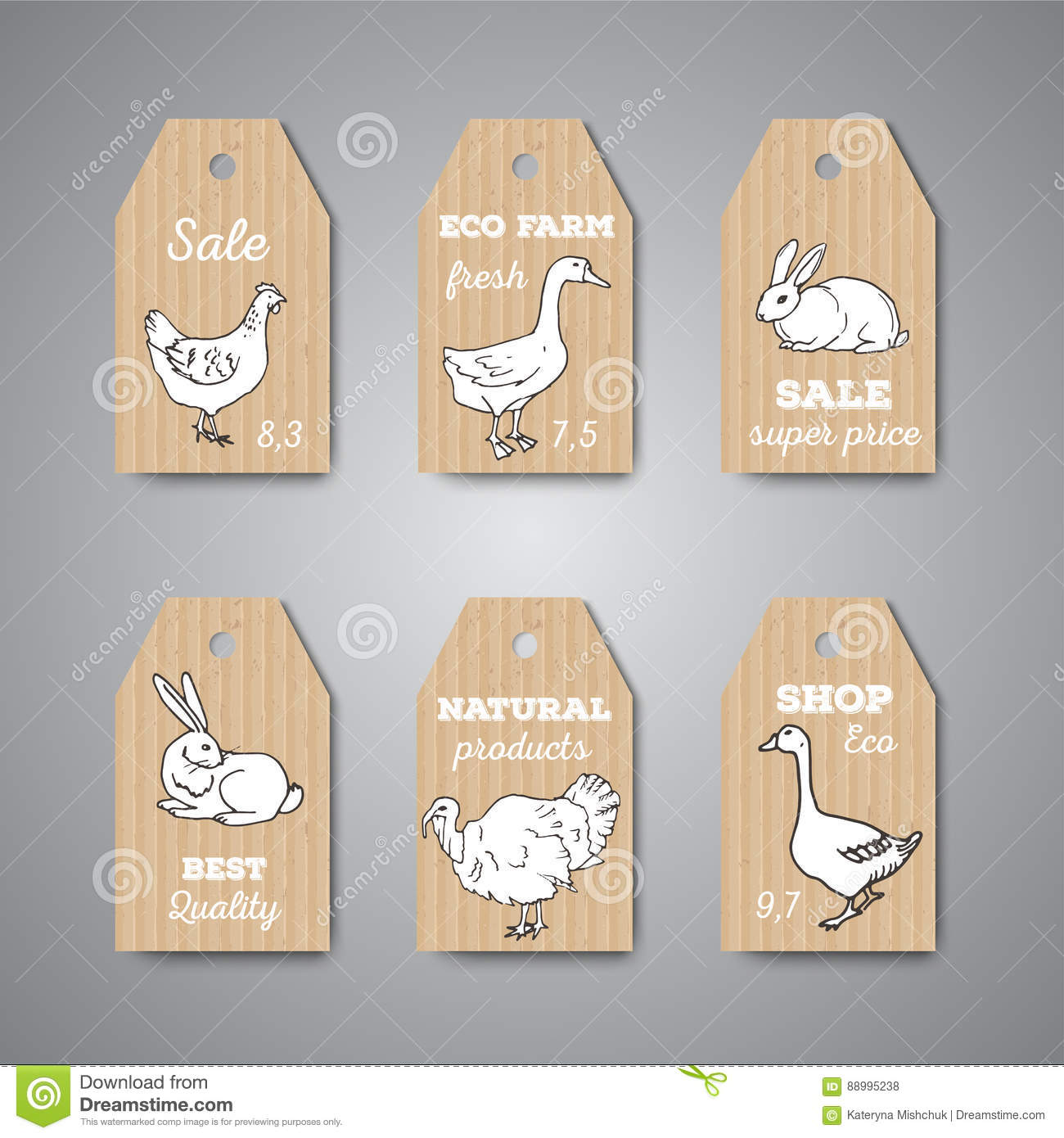hight resolution of butchery shop price tags and labels