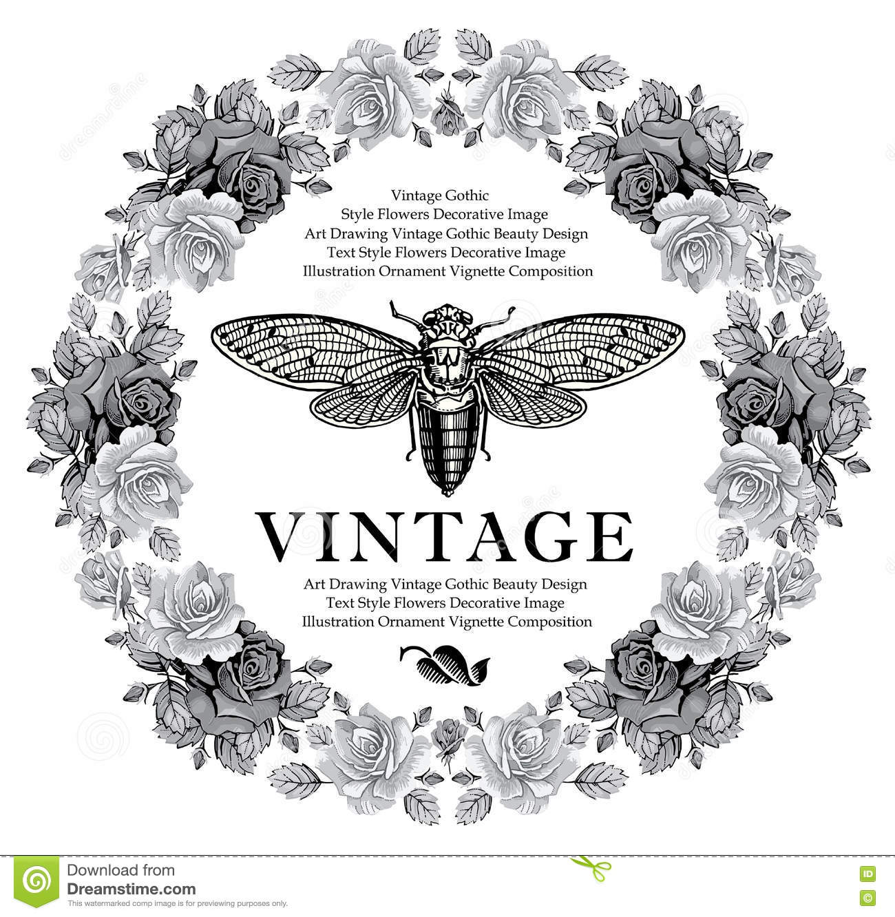 Butterflies Cicada Insects Baroque Rose Flowers