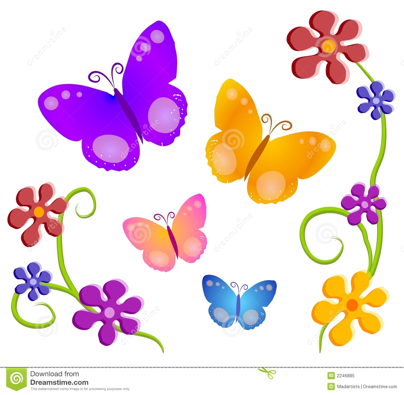 hight resolution of a butterfly and flowers illustration in dark colors and tones of red orange yellow pink blue and purple on an isolated white background