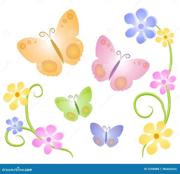 butterflies flowers clip art 2