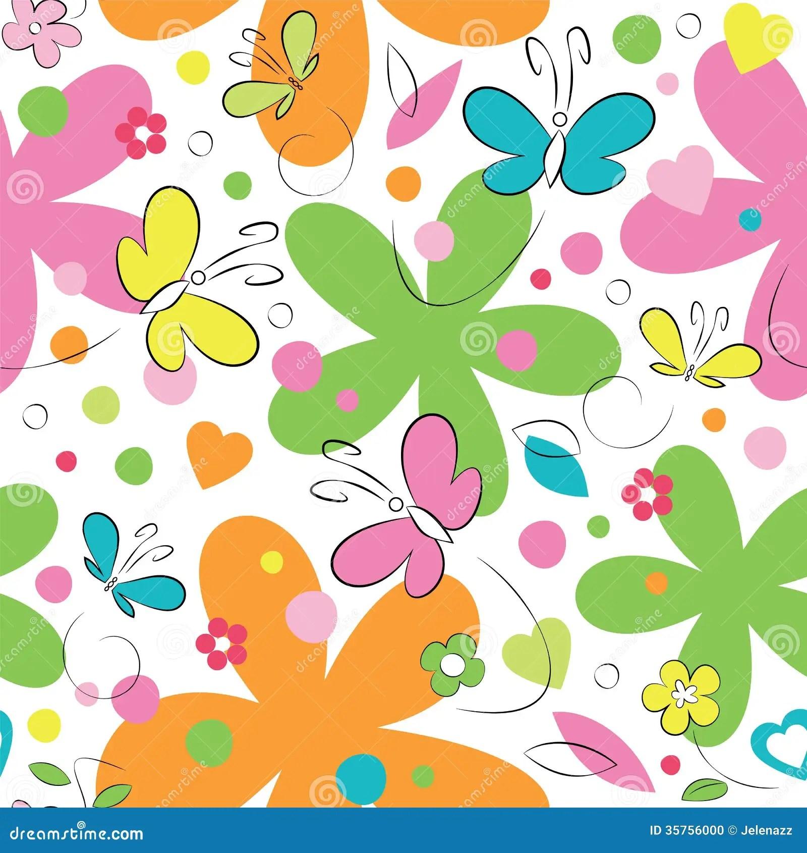 Cartoon Spring Flowers And Butterflies