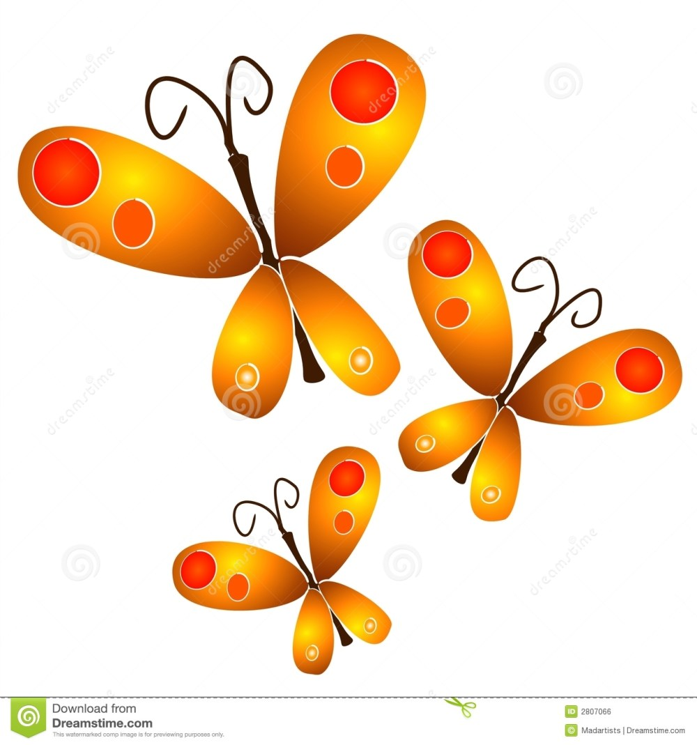 medium resolution of 3 artistic illustrations of orange and gold spotted butterflies flying on a white background