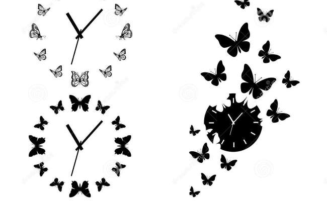 Butterfly Clocks Vector Set Stock Vector Illustration