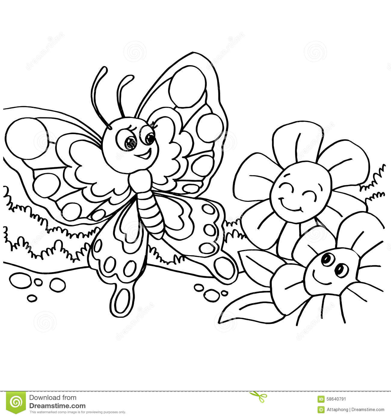Butterfly Coloring Pages Vector Stock Vector