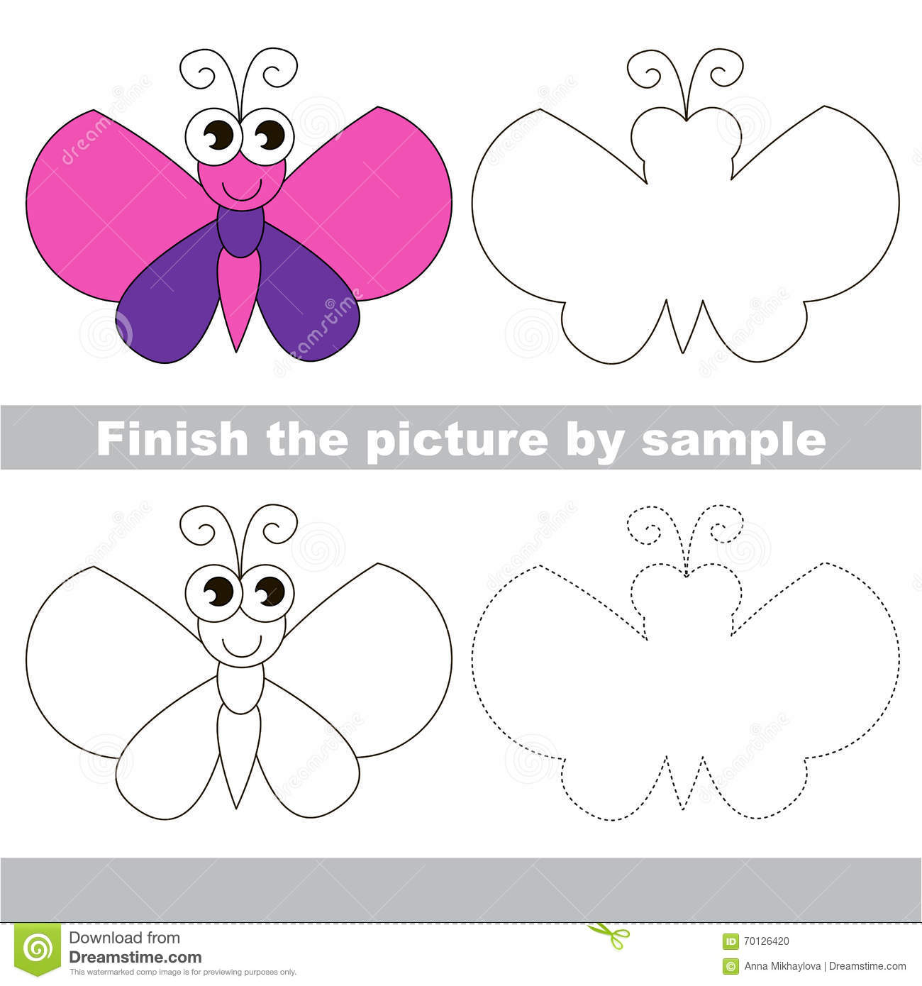 Butterfly Drawing Worksheet Stock Vector