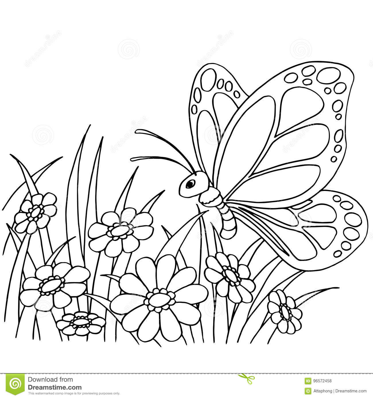 Butterfly And Flower Cartoon Coloring Page Vector Stock