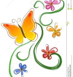 an isolated clip art design illustration of a yellow and orange butterfly with flowers [ 1008 x 1300 Pixel ]