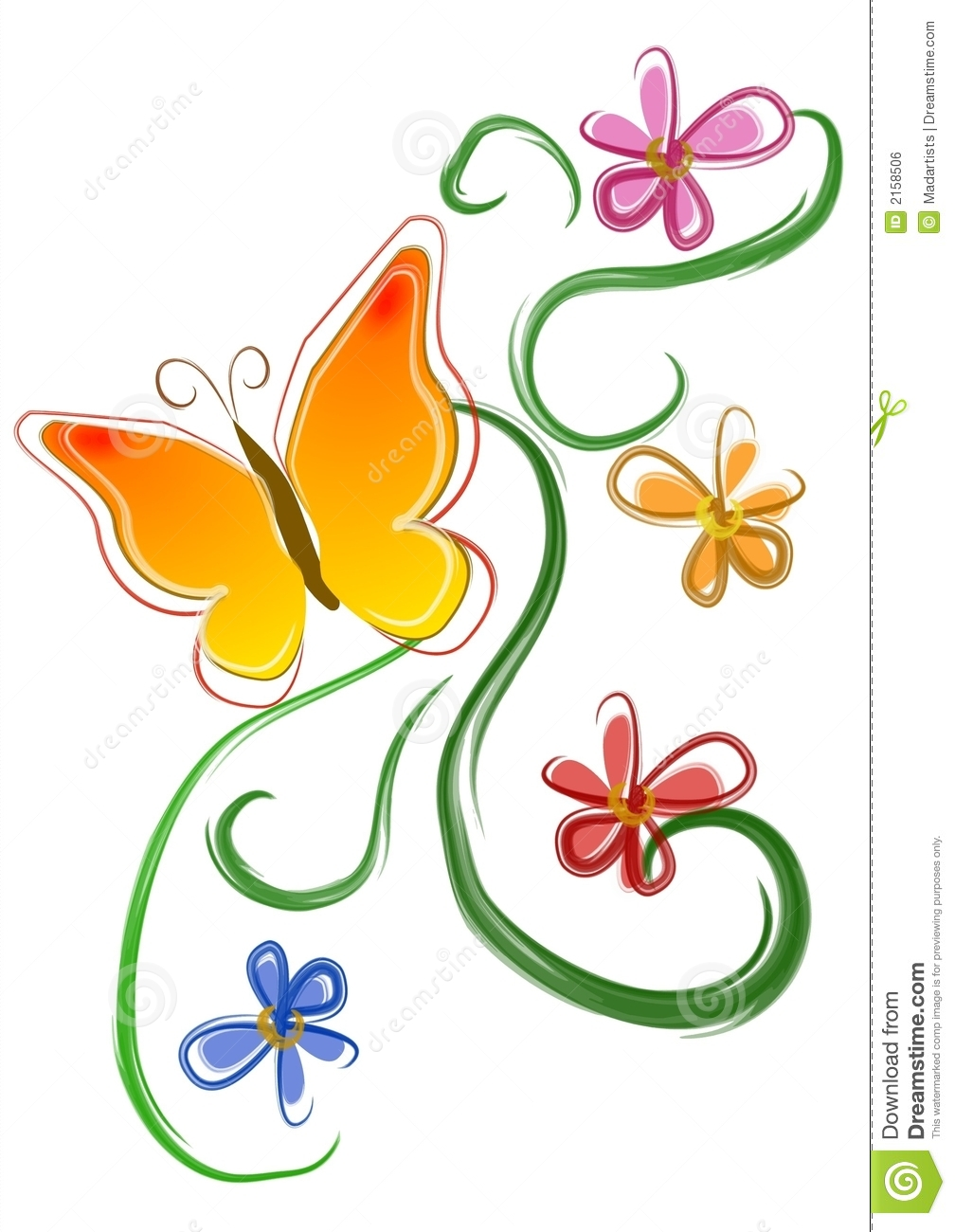 hight resolution of an isolated clip art design illustration of a yellow and orange butterfly with flowers