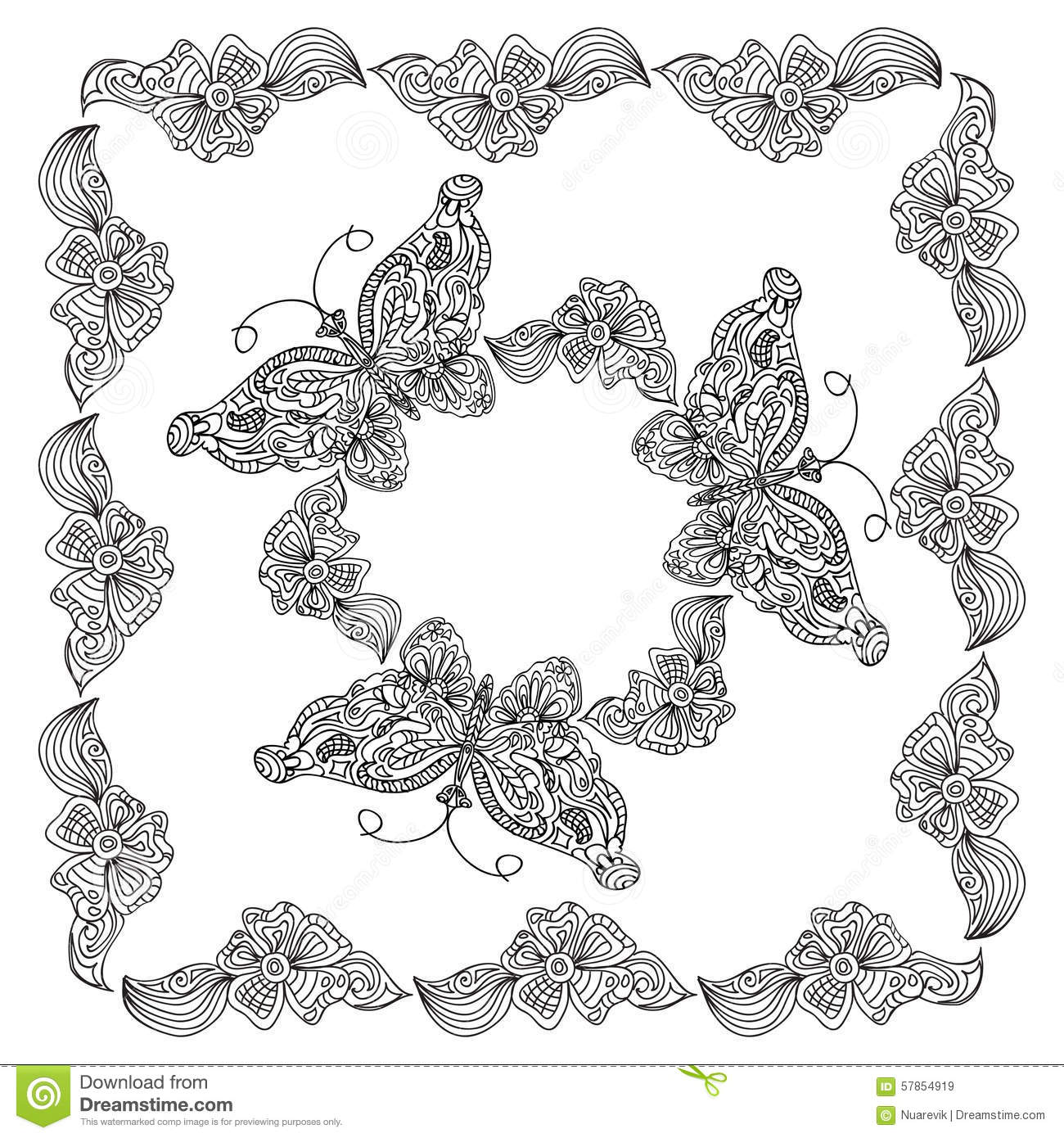 Butterfly Frame Coloring Page Stock Illustration