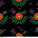 Butterfly And Orange Flower Seamless Pattern Embroidery Stitches Stock Vector Illustration Of Bouquet Butterfly 90015915