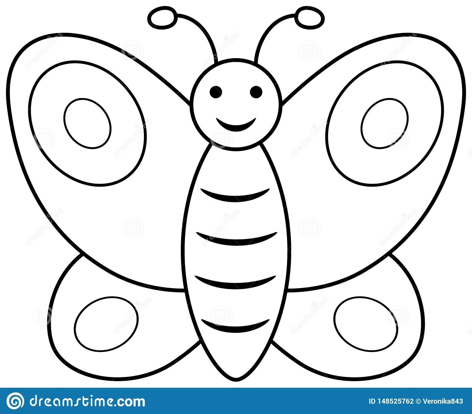 Butterfly Outline Clipart Vector Coloring Book Page For