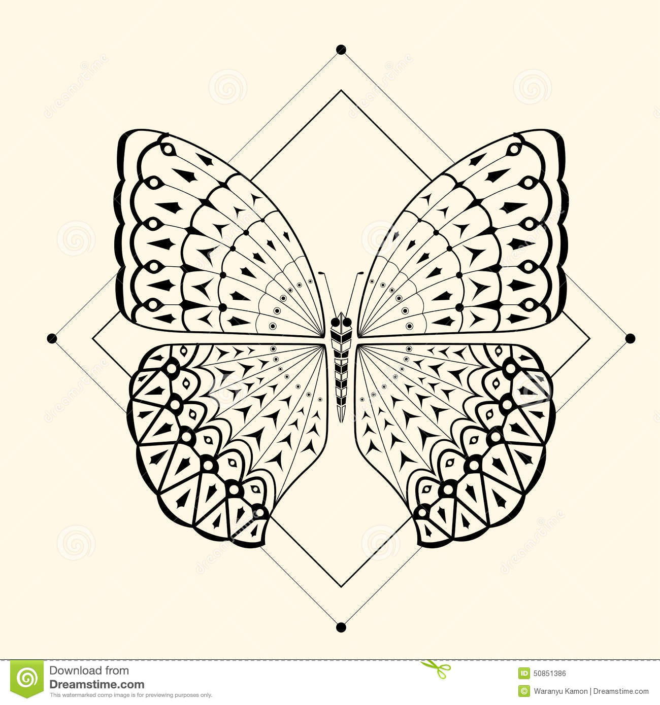 Butterfly Zentangle 2 Stock Vector Image 50851386