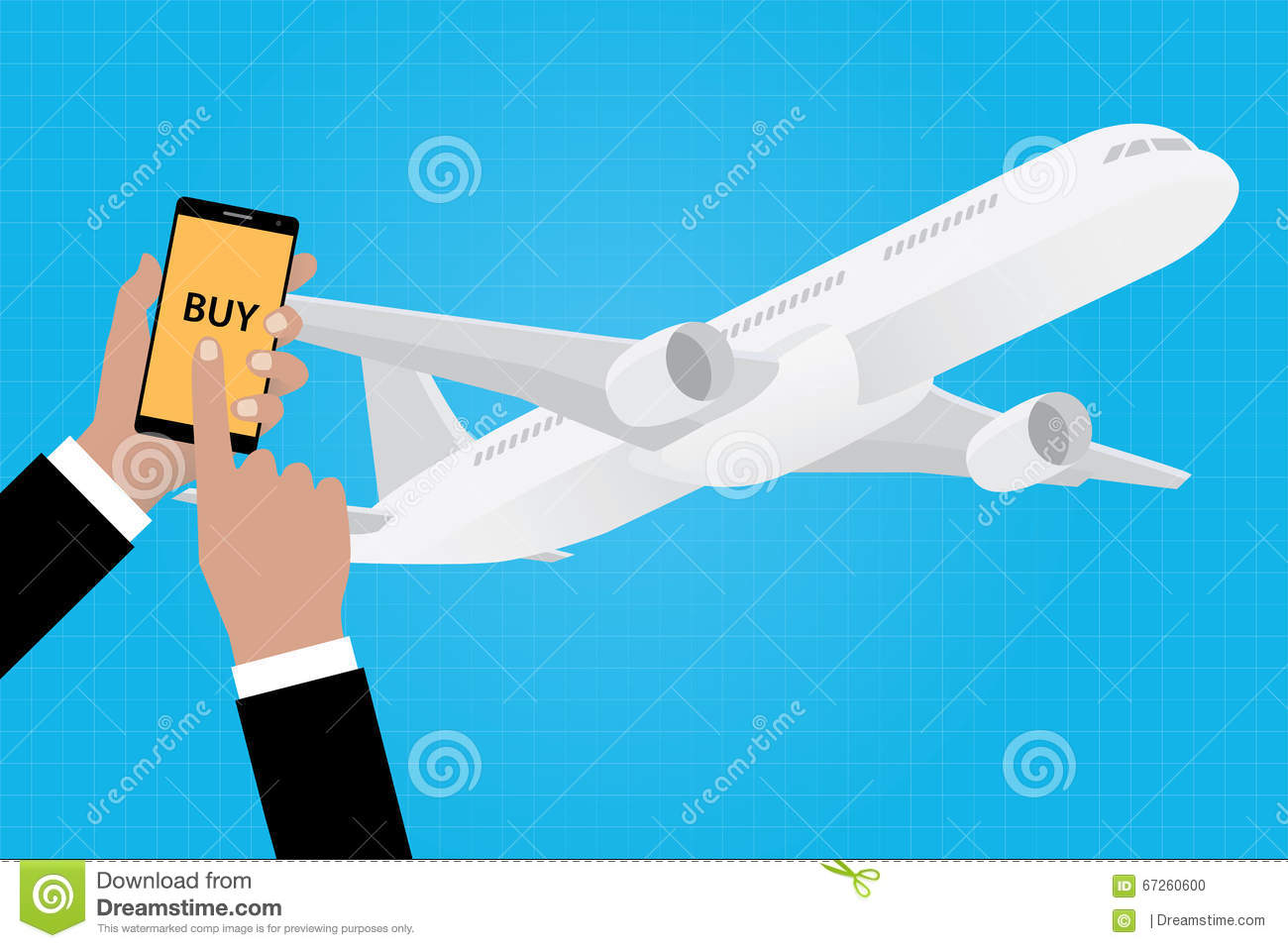 Buy Online Ticket Airline Airlines With Smartphone App Apps Stock Vector - Illustration of card. internet: 67260600