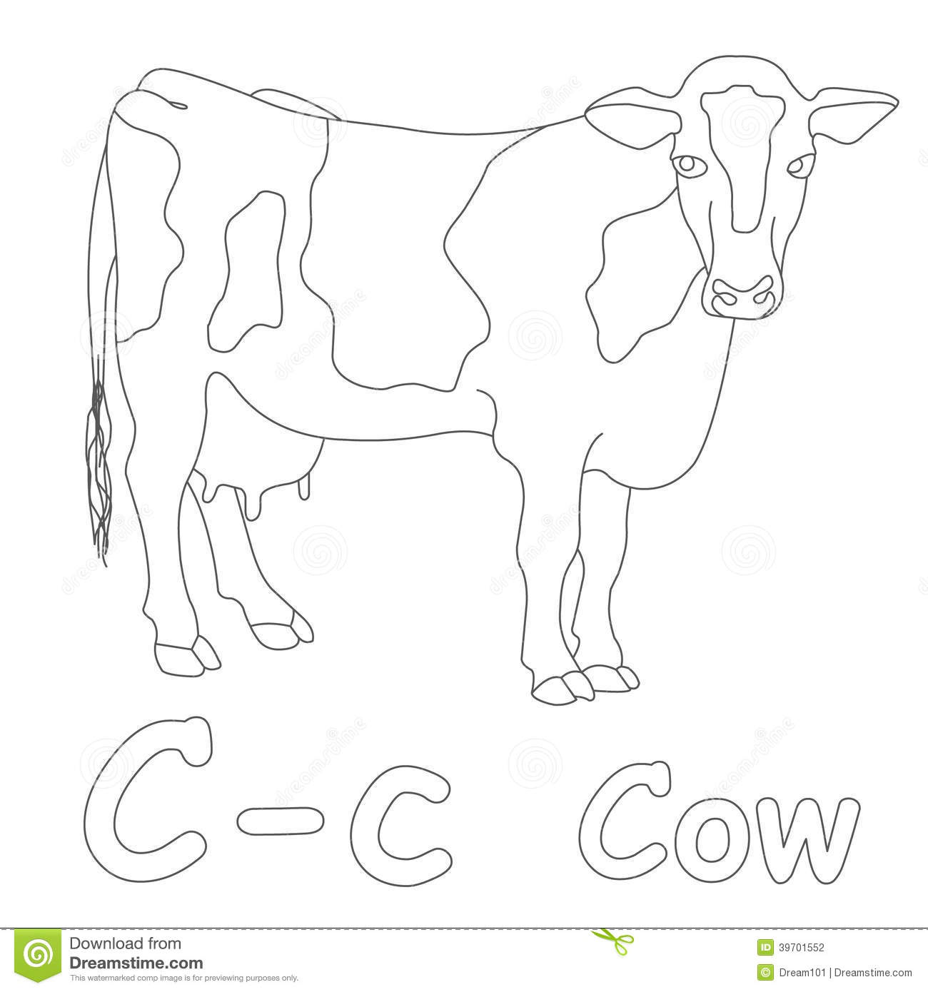 C For Cow Coloring Page Stock Illustration Illustration