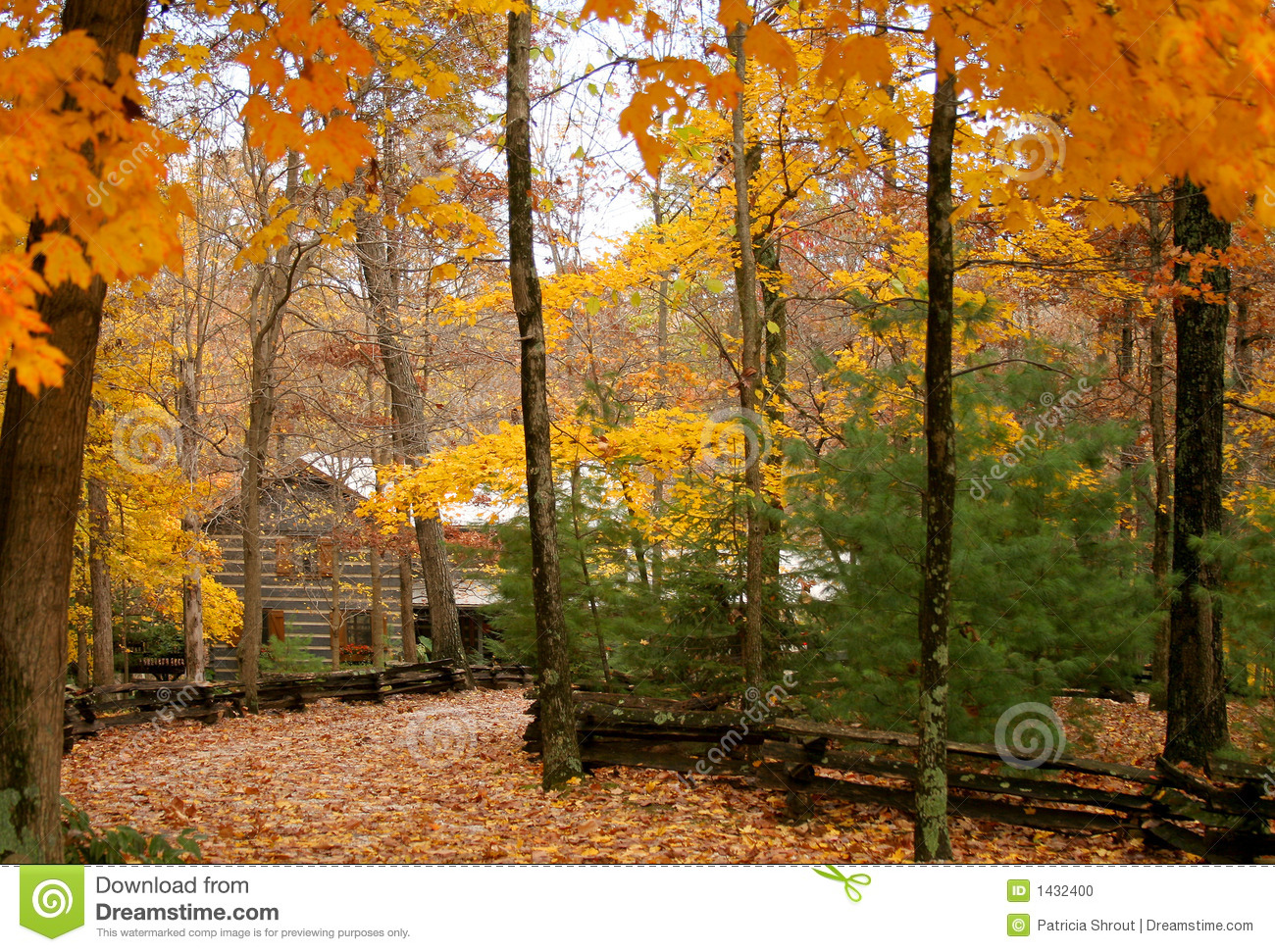 Fall Cabin The Woods Wallpaper Cabin In The Woods With Autumn Stock Photo Image 1432400